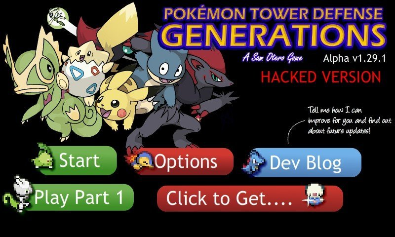 Pokemon Tower Defense 2: Generations Hacked