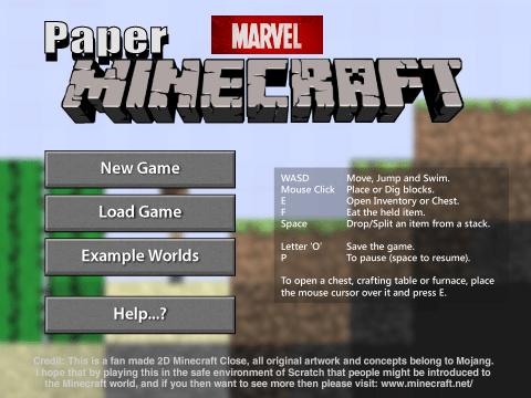 Jogar Paper Minecraft v11.3 Marvel Edition Gratis Online