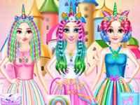 Jogar Princesses Rainbow Unicorn Hair Salon Gratis Online