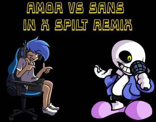 Play Friday Night Funkin: Amor vs Sans in X Spilt Remix Mod